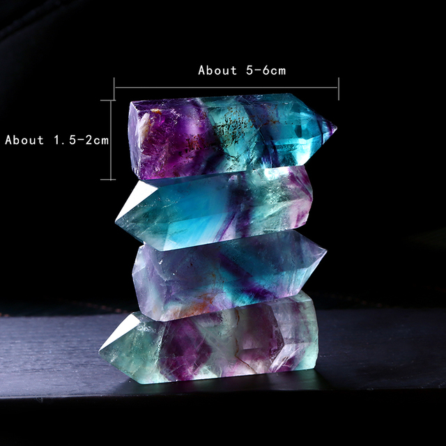 1PC Natural Fluorite Hexagonal Column Crystal Point Healing Wand Mineral Crystal Home Decoration Stone Study Room Decoration