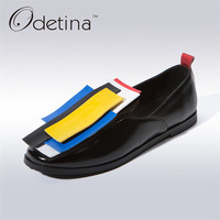 Odetina 2017 New Fashion Patent Leather Designer Loafers Women Casual Slip On Flat Shoes Geometric Decoration