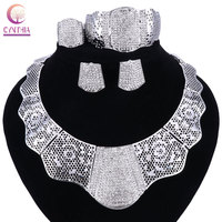 2017 Sales African Nigerian Wedding Bridal Dubai Big Silver Plated Jewelry Sets African Beads Jewelry Set