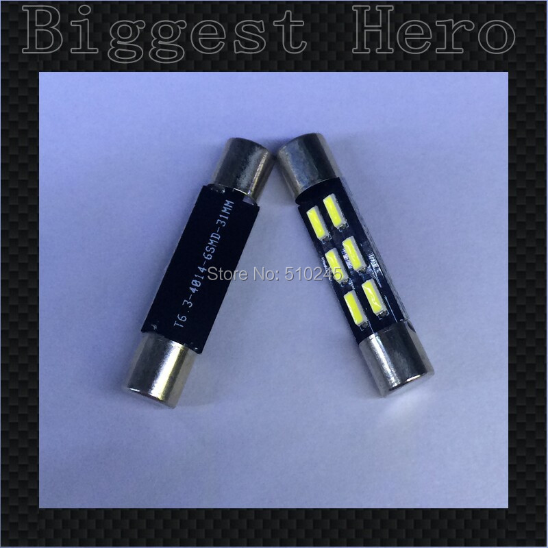 100x Big sales Wholesale Car led 31MM 28MM light T6.3 6 SMD led 6smd 4014 Auto led bulbs Free shipping