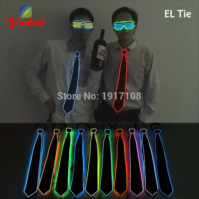 2017 Blinking10 Color Choice Sound active EL wire Neck tie Flashing LED Necktie Powered by AA battery For Dance Party Decoration
