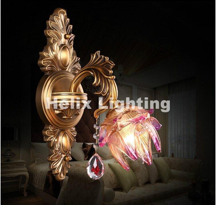 Европейский цинковый сплав Роскошный Crystal Light E14 LED Бра Спальня ночники проход настенный светильник AC 100% гарантия бесплатная доставка