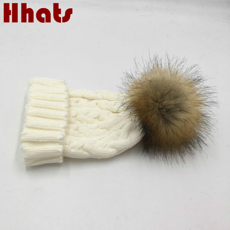 4faf7b5e4a1 which in shower faux raccoon fur pompom crochet winter hat kids boy girl  cable knitted beanie