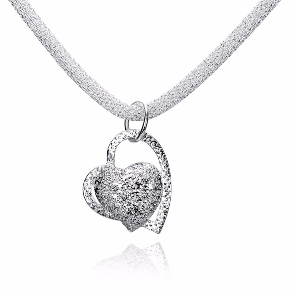 Silver-Plated-Necklaces-Pendants-Girl-Jewelry-Silver-Inlaid-Stone-Heart-Choker-Necklace-18inch-Hollow-Mesh-Chain