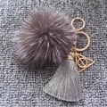 Fox Plush Pompom Fur Ball Keychain Harry Potter Luna Triangle Deathly Hallows Pendant with Colors Silk Tassel Keychain Bag Charm