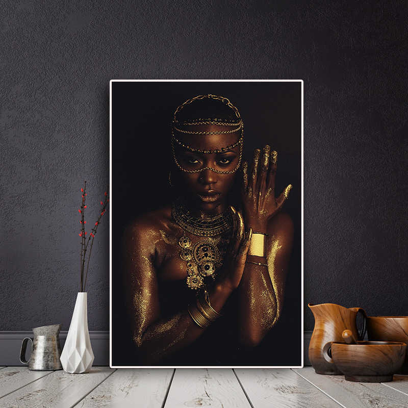 Black and Gold Nude African Woman with Necklace Canvas Painting Posters and Print Scandinavian Wall Art Picture for Living Room