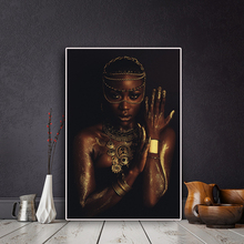 Black and Gold Nude African Woman with Necklace Canvas Painting Posters Print Scandinavian Wall Art Picture for Living Room