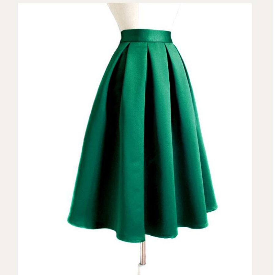 2018 Chic Burgundy Womens Skirts Vintage Mid Length Midi Saias Zipper Waist Autum Tea Length Saia Midi Faldas Mujer Satin Skirt
