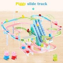 DIY трек свинья игрушечные фигурки гоночный трек вагон Электрический музыка Альпинизм Лестницы Детские игрушки развивающие детские железные дороги