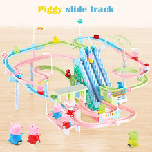 DIY Peppaed pig Toy Figures Racing Track rail car electric music climbing stairs children's toys Educational kids railway(China)