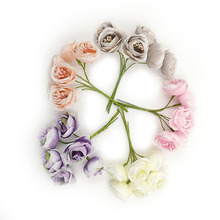 12pcs/lot Silk Artificial plants DIY Garland Kids Headbands Rose Flower Bouquet For christmas wreath wedding event decoration