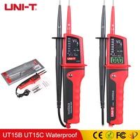 UNIT T UT15B UT15C Waterproof Voltage Detectors Meters Pen Beeper AC/DC V Continuity Phase Rotation Tester LED Light Indicator