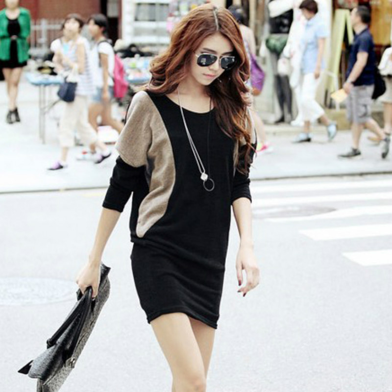 Spring autumn maternity clothes Bat sleeve maternity dress Stitching maternity long tees