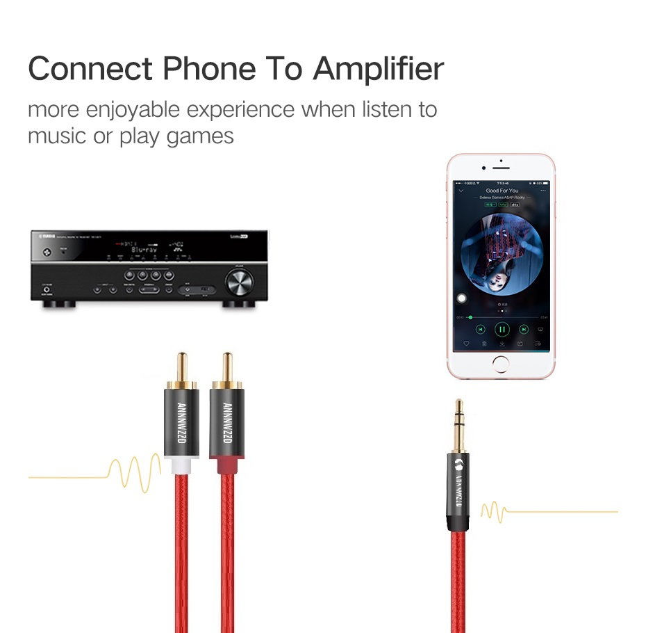RCA Audio Cable 2RCA Male to 3 5mm Jack to 2 RCA AUX Cable Nylon Braided Splitter Cable for Home Theater iPhone Headphone