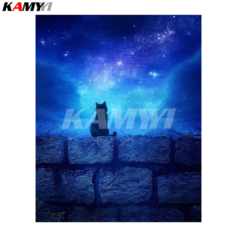 Full SquareRound Drill 5D DIY Diamond Painting Cats in the night sky 3D Embroidery Cross Stitch Mosaic Home Decor DD