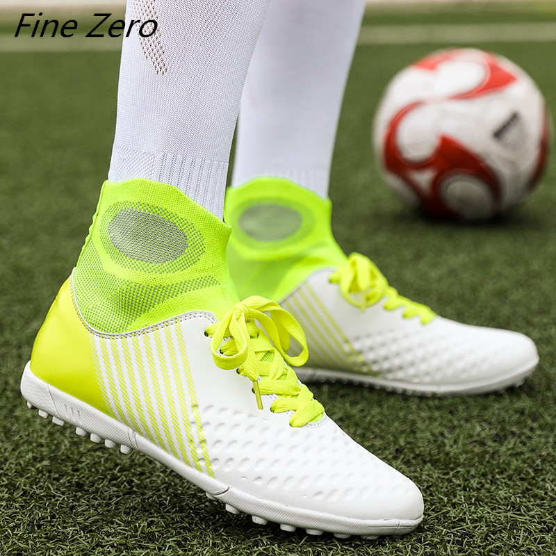 New Outdoor Men Boys Soccer Shoes Football Boots High Ankle Kids Cleats Training Sport Sneakers TF/FG Soccer Cleats Shoes Women