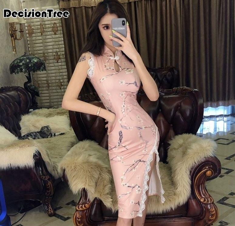 2020 Lady Vintage Dragon&phoenix Short Qipao Elegant Women Cheongsam Mandarin Collar Sexy Chinese Dress Vestidos