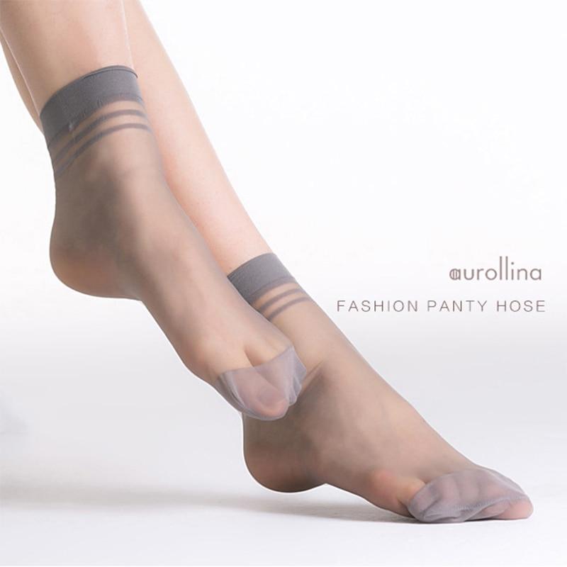 Women Summer Sheer Silk Short Socks With Thickened Toes  Girlss Sexy Nylon Toe Reinforcement