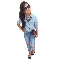 Baby Girl Clothes Set Long Sleeve Occident T Shirt Denim Pants Trousers Clothes Outfits Roupas Para