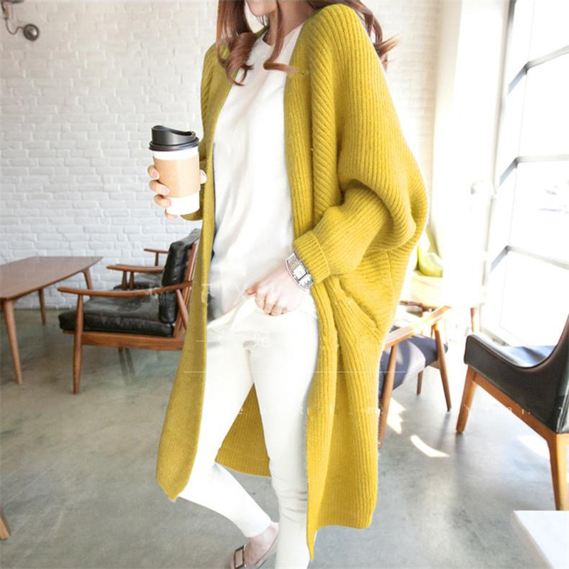 Women Autumn All Match Long Knitted Sweaters Cardigan 6 Color Fashion Batwing Sleeve Top Jumpers Loose Casual Oversized Sweaters