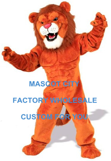 Deluxe Red Power Cat Lion Mascot Costume Adult Size Male Lion Wild Animal Theme Carnival Party Cosply Mascotte Suit SW1019