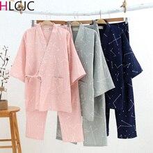 Pijama de gasa de algodón japonés para hombre y mujer, Kimono con cuello en V, informal, para primavera y verano, juegos de pantalones largos