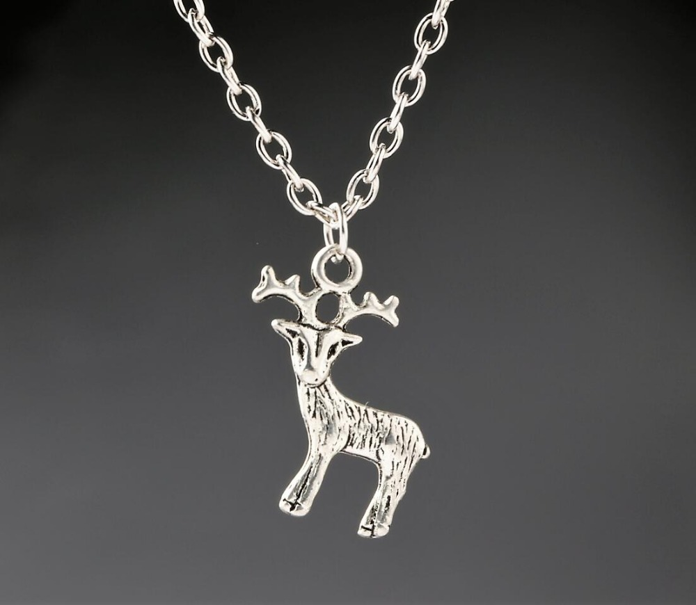 Deer elk moose charms alloy pendant necklace vintage antique silver deer elk moose charms alloy pendant necklace vintage antique silver christmas gift new 1pcs in pendant necklaces from jewelry accessories on aloadofball Images