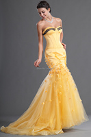 Charming Bright Yellow Prom Dresses Long Elegant Mermaid Prom Dresses Sweetheart Backless Appliques Sexy Evening Prom