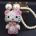 2016 new cartoon Monchichi sleutelhanger hello kitty keychain Crystal monchhichi Dolls Key chain ring women bag car pendant cute