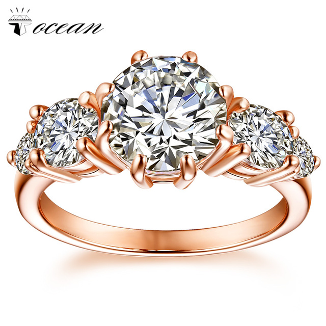 Tocean Rose Gold Color Wedding Ring for Women Round Cute AAA Zircon fashion Cute Handsome Engagement Bijoux Bague Size 5-12 W020