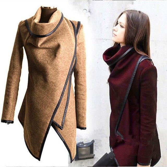 2016Women's Пальто Шерсть Верхняя Одежда Осень-Зима Шерстяные Пальто Нерегулярные Темперамент Slim Тренч Длинную Траншею