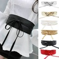 Fashion Women Metallic Color Boho Synthetic Leather Wide Self Tie Wrap Around Bowknot Waist Wide Dress Belt