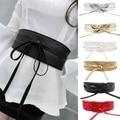 Moda Feminina Metallic Cor Boho Ampla Auto Tie Wrap Around Couro Sintético Bowknot Cintura Cinto Vestido Largo