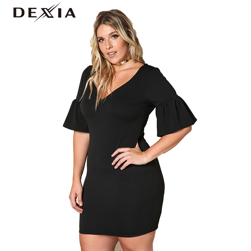 DEXIA Knitted Plus Size Dress Women 2017 Summer Half Sleeve V-Neck Black Mini Dresses Sexy Party Female Elegant Vestidos 170006 plus size double pockets knitted dress