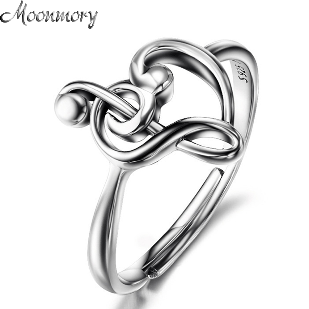 925 Sterling Silver Music Heart Ring Treble Clef Bass Clef Music Jewelry 1