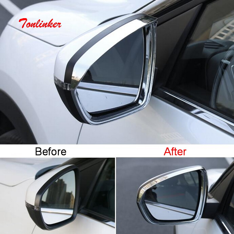 Tonlinker Exterior Rearview mirror rain eyebrow Cover Sticker for Citroen C5 aircross 2017-18 Car Styling 2PCS ABS sticker