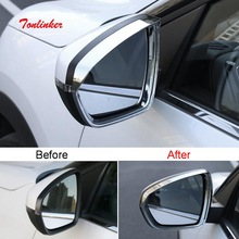 Tonlinker Exterior Rearview mirror rain eyebrow Cover Sticker for Citroen C5 aircross 2017-18 Car Styling 2PCS ABS Cover sticker fit for citroen c5 aircross interior steering wheel moulding sequins abs chrome decoration cover 2pcs