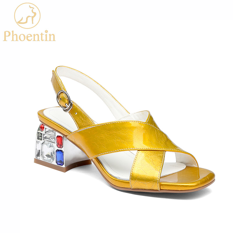 Phoentin yellow designer sandals women luxury 2019 rhinestone sandals heels 6.5cm genuine leather white shoes woman summer FT673Phoentin yellow designer sandals women luxury 2019 rhinestone sandals heels 6.5cm genuine leather white shoes woman summer FT673
