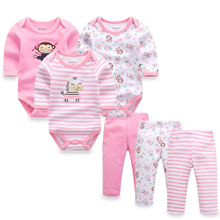 6pcs/lot Baby Girl Clothes Newborn Toddler Infant Autumn/Spring Cotton Baby Rompers+ Baby Pants Baby Clothing Sets(China)