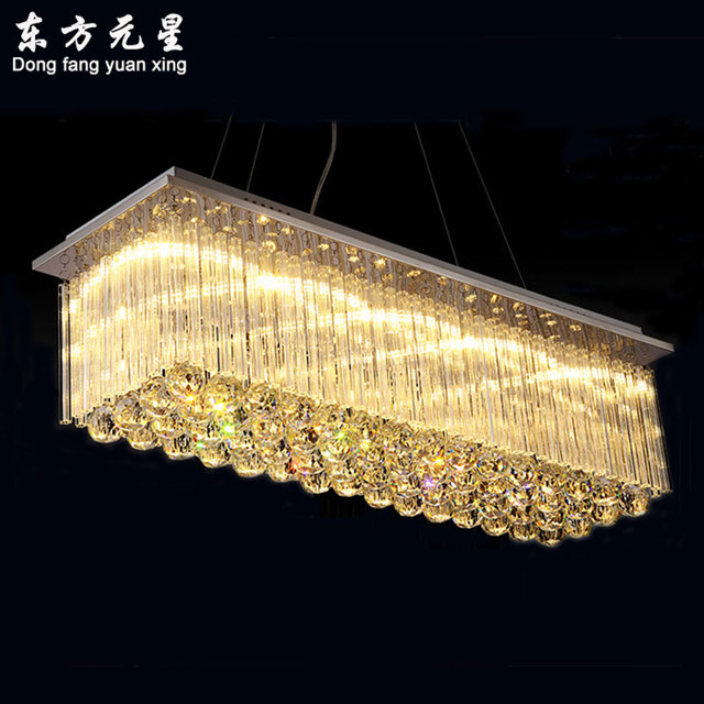 Crystal Chandelier Led Light Rectangular Dining Room Restaurant Lights Bar Chandelier  Lighting With Dimming Remote Control
