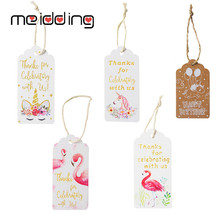 все цены на Flamingo Paper Gift Tags Flamingo Party Gift Labels Decor Hanging Cards Unicorn Flamingo Birthday Party DIY Decoration Accessory онлайн
