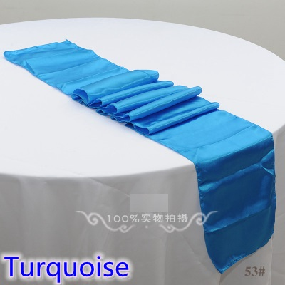 Turquoise Colour Table Runner Satin Shiny Colour Table Decoration Wedding Hotel Party Show Table Runner Cheap