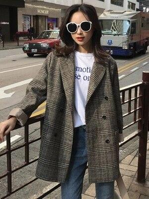 1 Vestito Piccolo Plaid Modo Di Sezione Giacca Nuove Retro Femminile Lunga Versione Molla Signore Coreana Del Donne Della Casuale SqUnpOHU