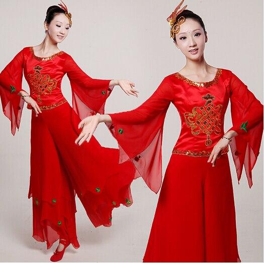 Chinois classique costumes de danse fan de danse Jeunes costumes de scène danseuses usure performance de la scène féminine