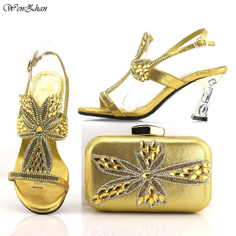 Gold Shoes And Clutch Bag Top Quality Italian Shoes and Bag Sets Decorated With Colorful Crystal Match With All Dresses C87-24Gold Shoes And Clutch Bag Top Quality Italian Shoes and Bag Sets Decorated With Colorful Crystal Match With All Dresses C87-24