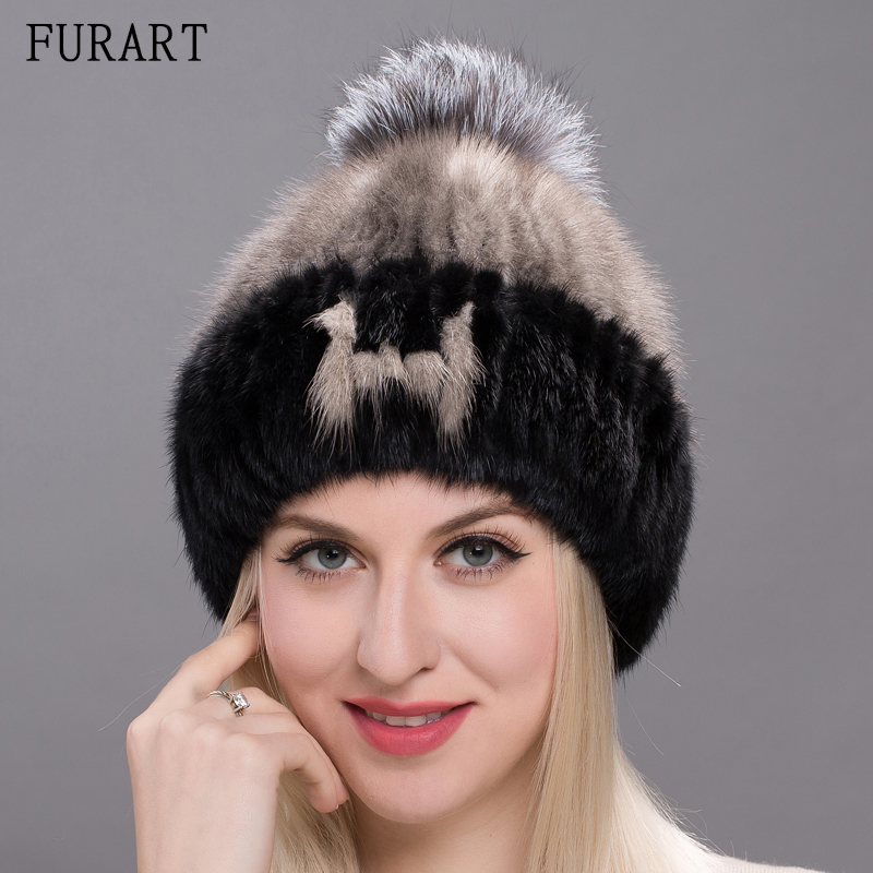 Mink Fur Hats Letters A~Z Fashion Beanies Women Winter Hat Knitting Cap Sliver Fox Fur Pompons Ball Warm Outdoor Caps DHY17-18 free shipping 1 set 3 pcs fashion 2016 autumn and winter hats warm knitting ball cap casual outdoor caps for women wcxd009
