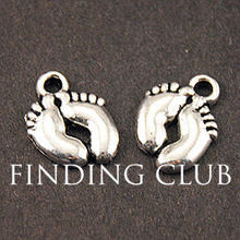 50 pcs alloy Charm Pendants Cute Lovely Baby Feet Silver Tone DIY Metal Bracelet Necklace Jewelry Findings A850(China)