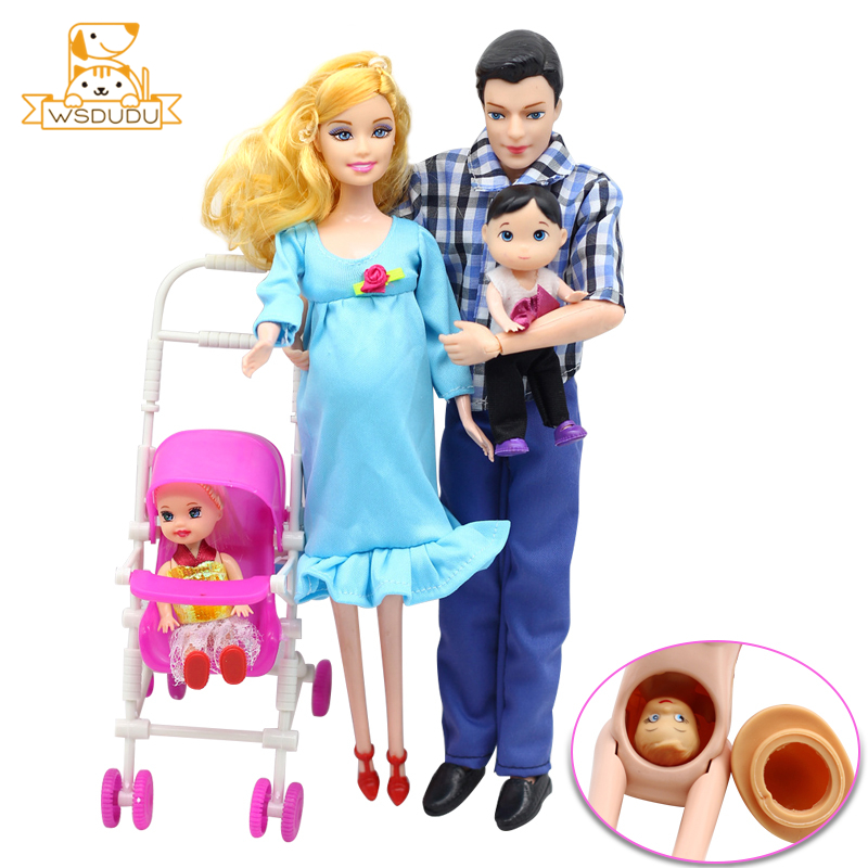 Family Dolls Pregnant Mom Ken Dad Newborn Mother Father Daughter Real Baby Mini Girl Boys Educational Toys Children Gifts Reborn