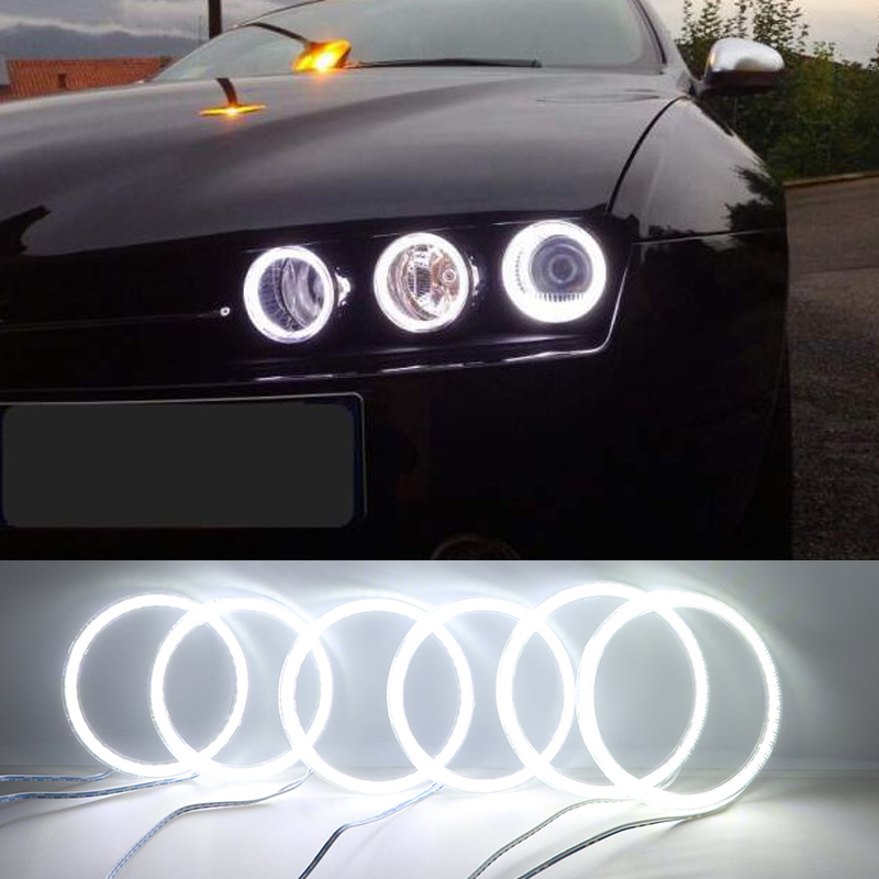 6pcs Super Bright White Color 3528 SMD Led Angel Eyes Kit Daytime Running Light DRL For Alfa Romeo 159 2005-2011 Car Styling