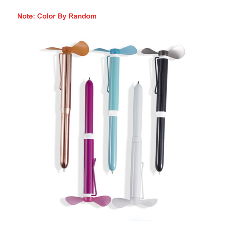 Metal Ballpoint Pen With Mini Fan As Students Gift  Metal Pen Case PVC Fan Blade Pen AAA * 1 Battery